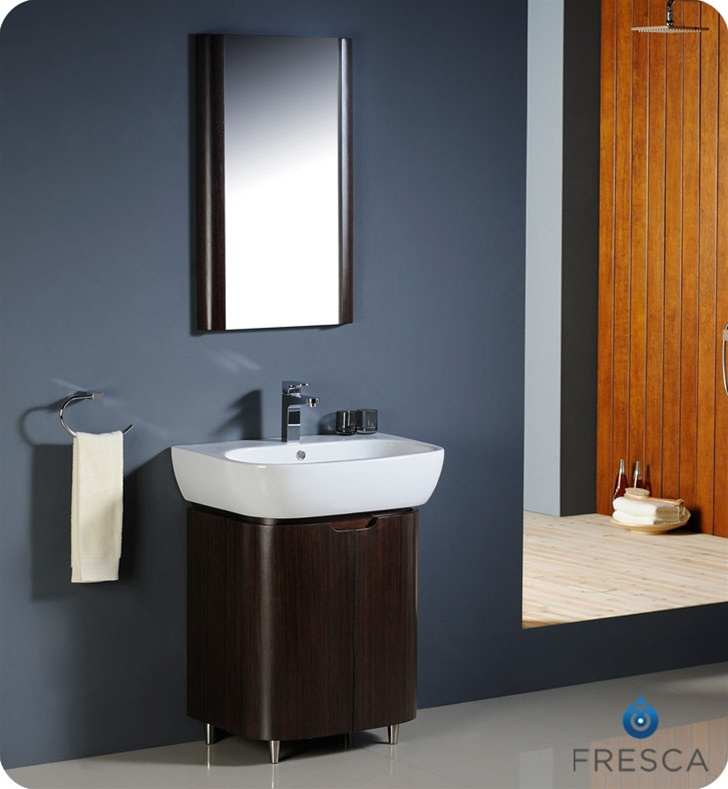 Fresca andria wenge brown modern bathroom vanity with mirror for Wenge bathroom mirror
