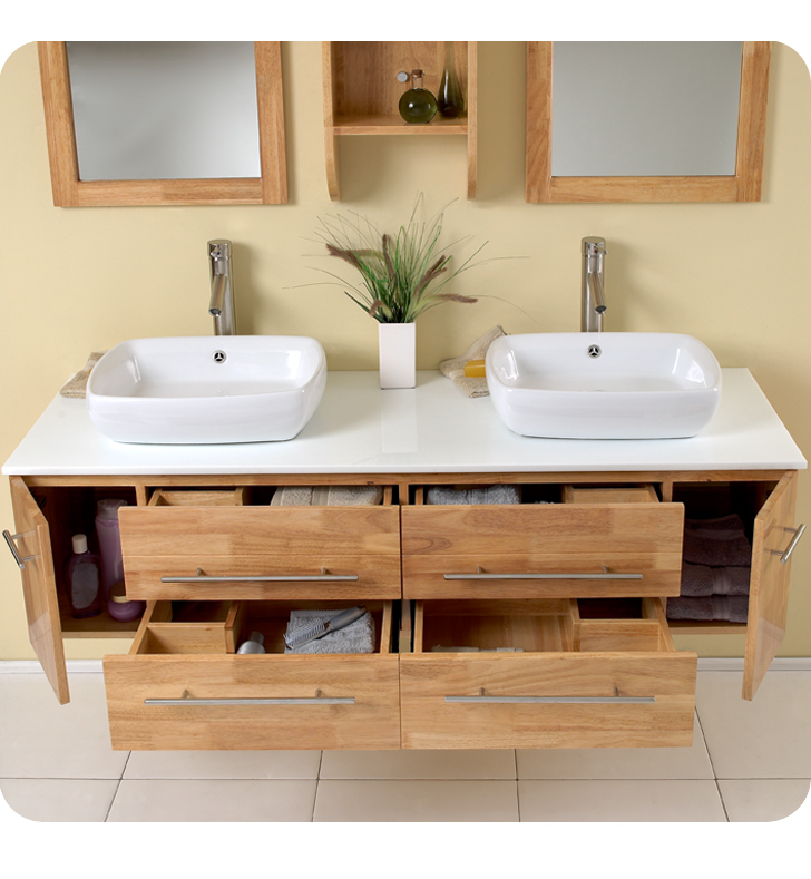 Fresca bellezza natural wood modern double vessel sink for Bathroom cabinets natural wood