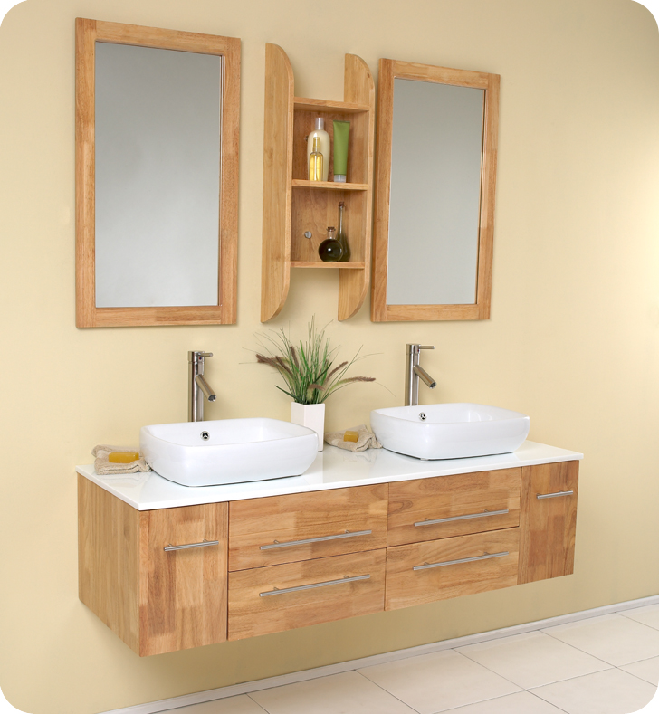 Fresca bellezza natural wood modern double vessel sink for Bathroom vanities uk