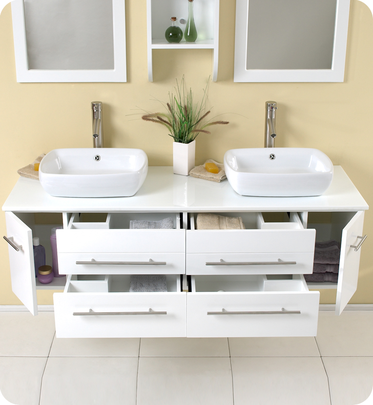 Fresca Bellezza White Modern Double Vessel Sink Bathroom