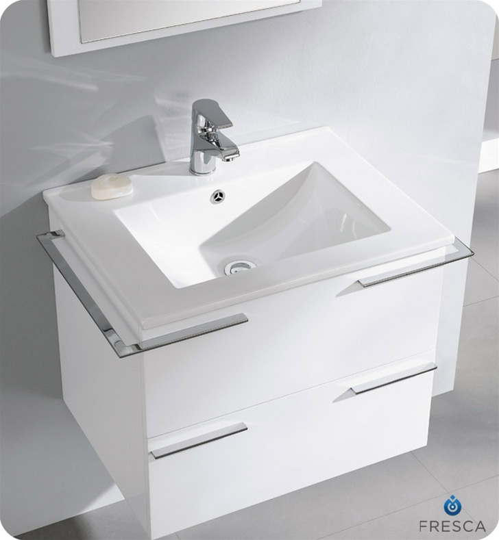 Fresca Cielo White Modern Bathroom Vanity Compact Bathroom