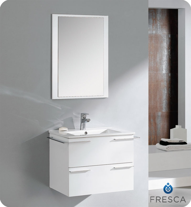 Fresca cielo white 24 modern bathroom vanity compact for Modern white bathroom vanity