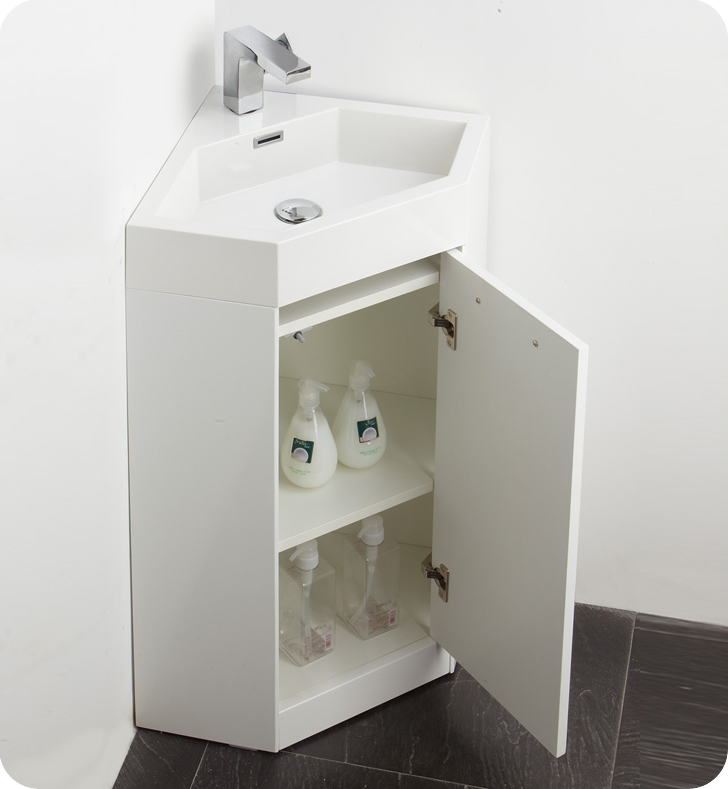 "Bathroom Cabinets Corner fresca coda 18"" bathroom vanity, white modern corner bathroom"