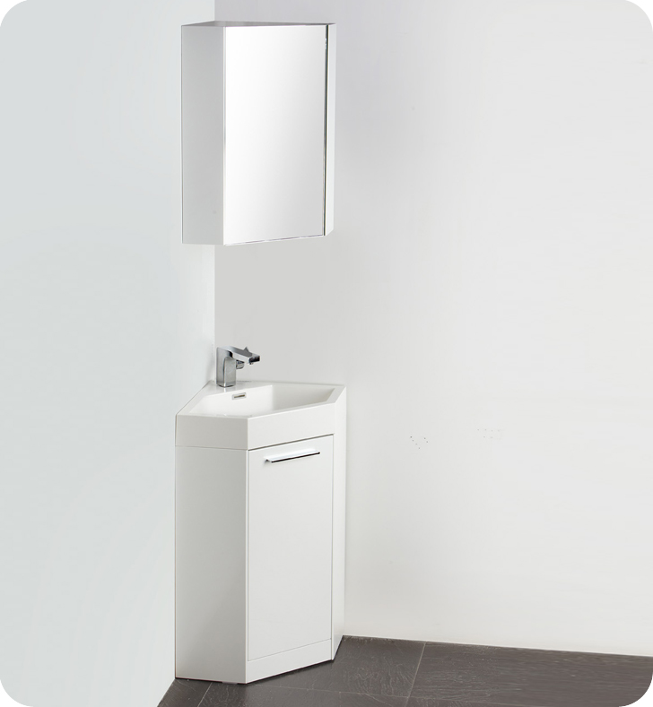Fresca Coda Collection 18 White Modern Corner Bathroom Vanity With Medicine Cabinet Faucet And Linen Side Option