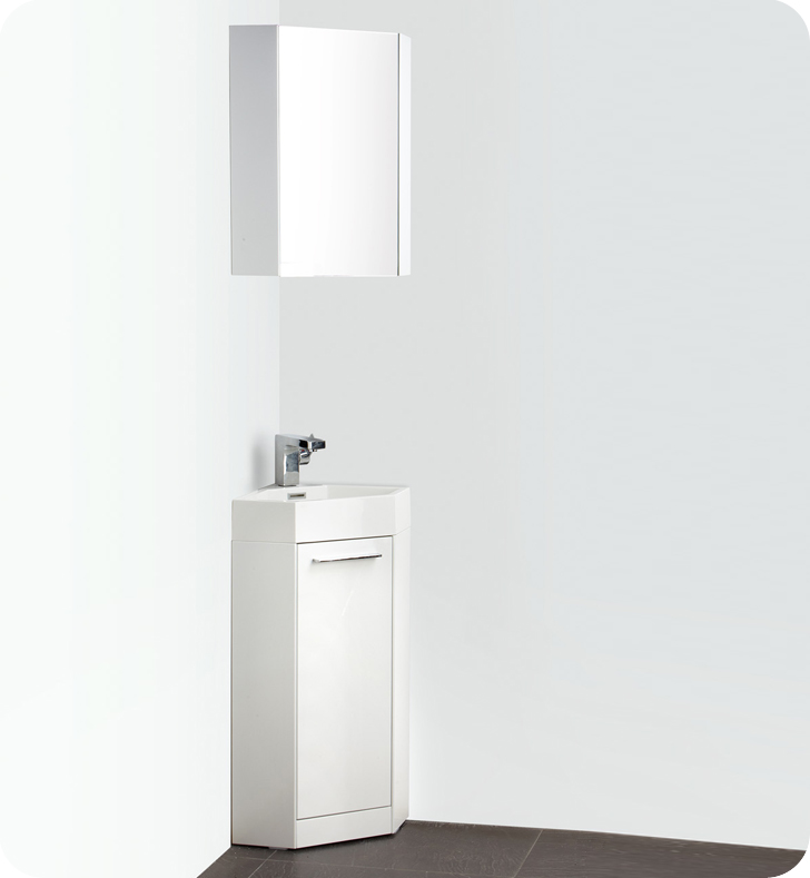 14 White Modern Corner Bathroom Vanity With Medicine Cabinet Faucet And Linen Side Cabinet Option