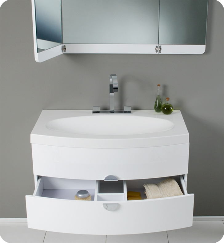 Fresca Energia White Modern Bathroom Vanity With Three Panel