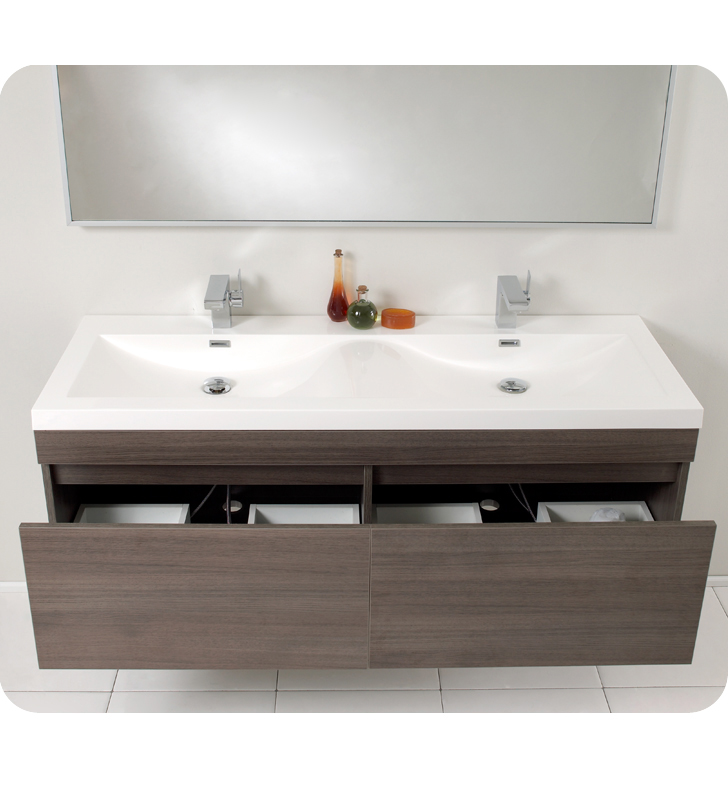 bathroom cabinet modern fresca largo 57 quot gray oak modern bathroom vanity 10291