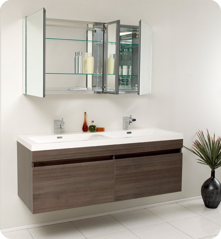 Vanity Contemporary Bathroom Cabinets Fresca Largo Gray Oak Modern Bathroom Vanity