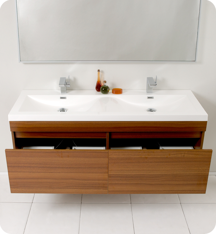 Fresca Largo Teak Modern Bathroom Cabinet. Fresca Largo Teak Modern Bathroom Vanity and Wavy Double Sinks