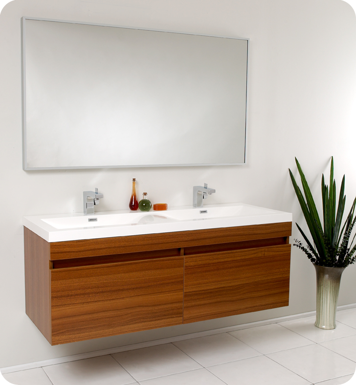 Fresca Largo Teak Modern Bathroom Vanity and Wavy Double Sinks