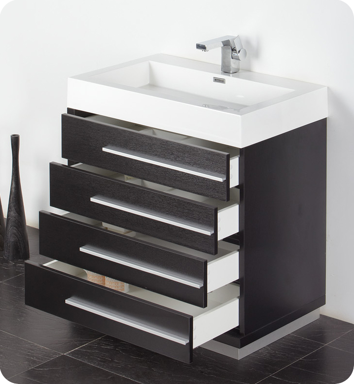 30 inch Black Modern Bathroom Vanity