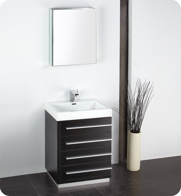 "Modern Bathroom Vanities Small fresca livello 24"" black modern bathroom vanity with medicine cabinet"