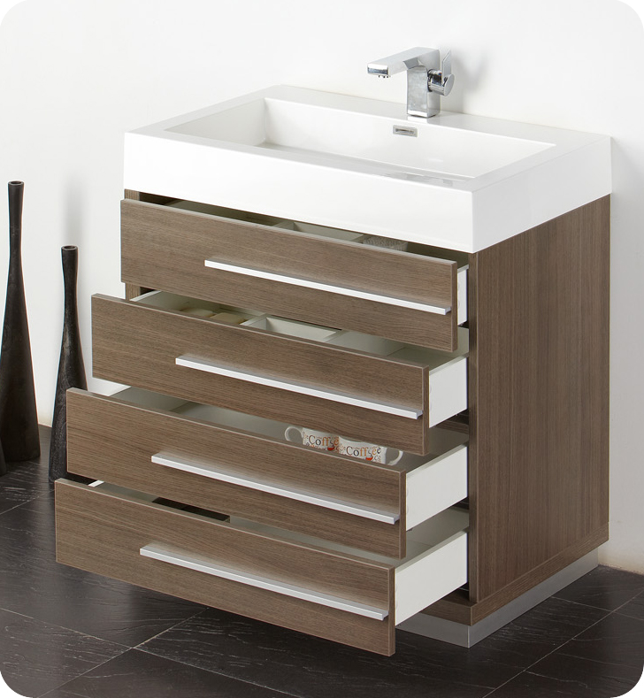 Fresca Livello 30 Gray Oak Modern Bathroom Cabinet