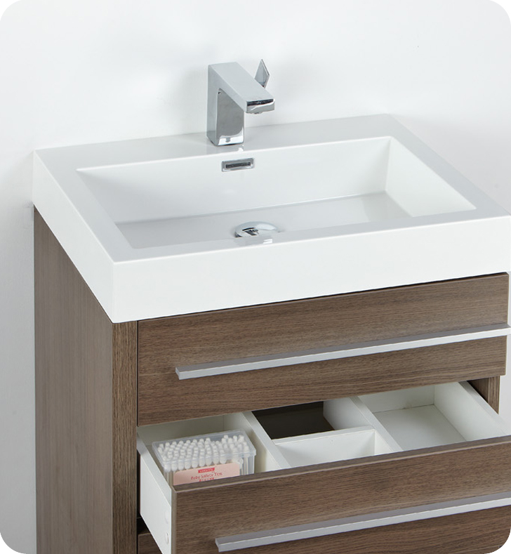 Fresca Livello 24 Gray Oak Modern Bathroom Vanity With Faucet Medicine Cabinet And Linen Side