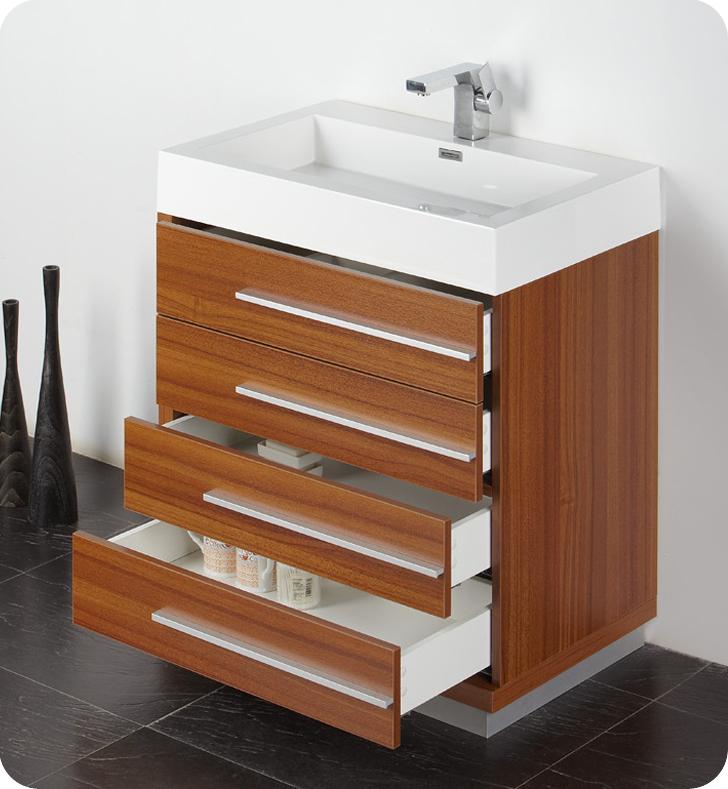 "Modern Bathroom Vanity 30 Inch fresca livello 30"" teak modern bathroom vanity"