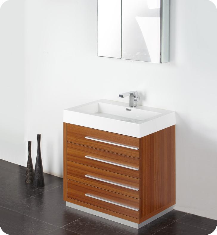 Fresca livello 30 teak modern bathroom vanity for Bathroom vanity and cabinet sets