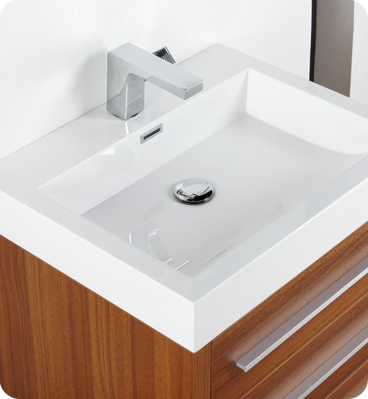 24 inch teak modern bathroom vanity with medicine cabinet - Modern Small Bathroom Vanities