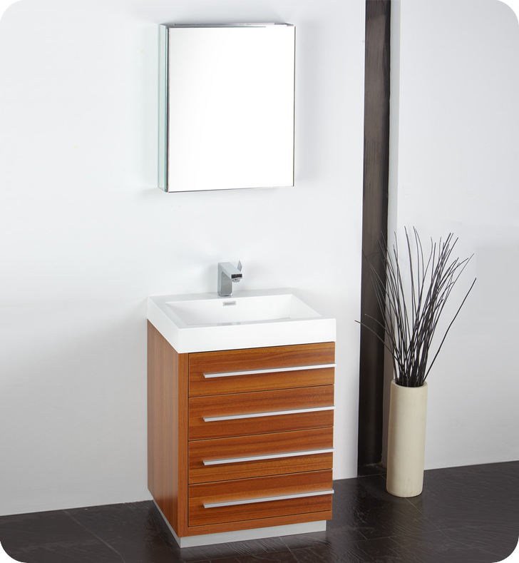 24 inch teak modern bathroom vanity with medicine cabinet for Small wooden bathroom cabinet