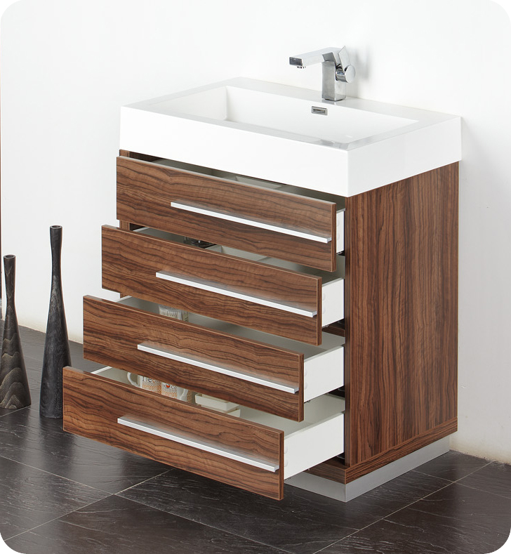 Fresca livello 30 walnut modern bathroom vanity for Modern contemporary bathroom vanities