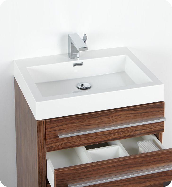 Vanity With Hutch : Fresca livello quot walnut modern bathroom vanity with