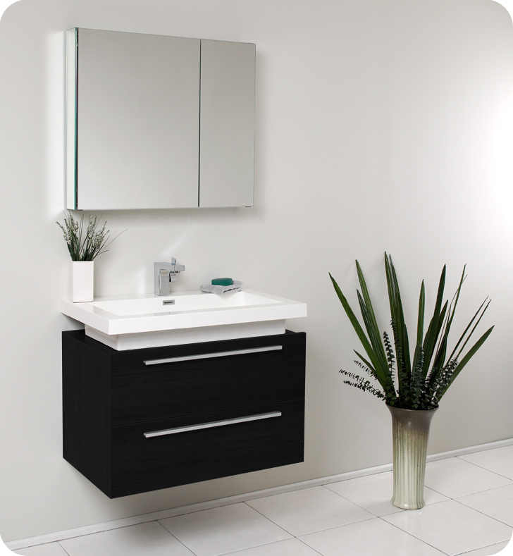 Fresca Medio 32 Black Modern Bathroom Vanity With Faucet Medicine Cabinet And Linen Side Option