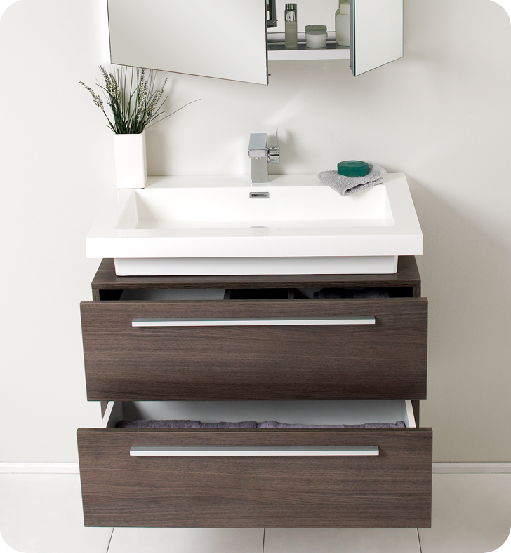 Wall mount bathroom vanity sink - Fresca Medio Gray Oak Modern Bathroom Vanity And Medicine