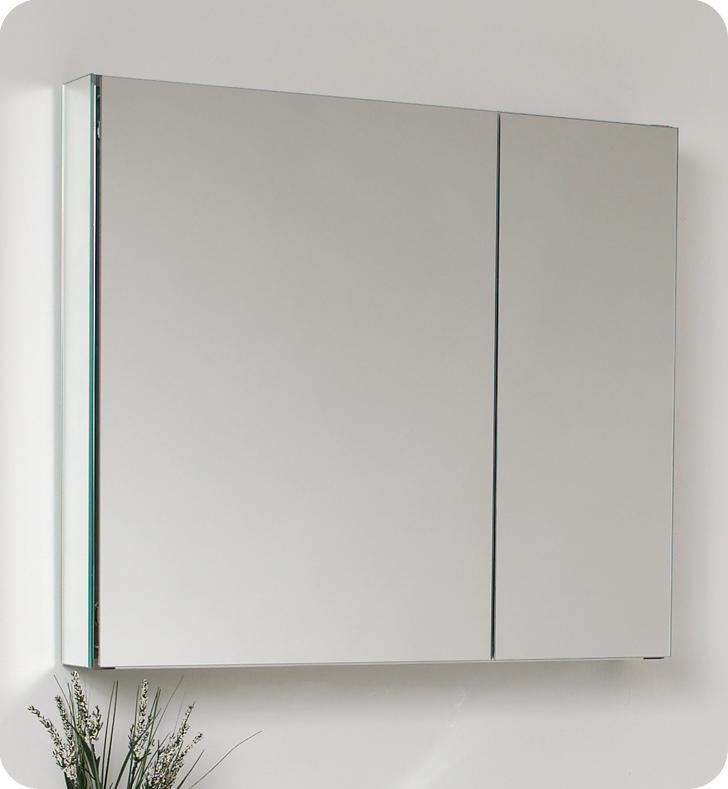 Fresca Medio Gray Oak Bathroom Mirror