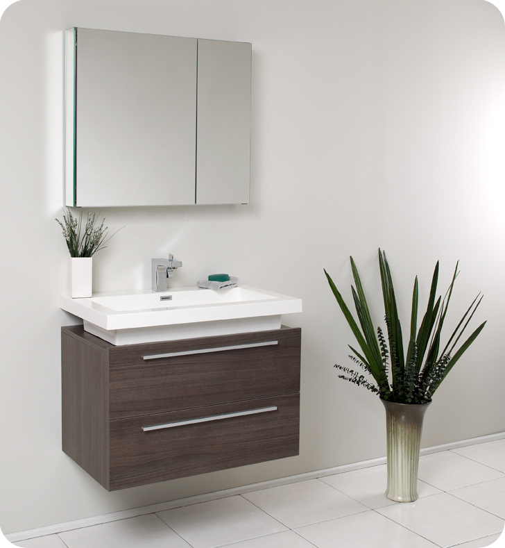 P trap installation bathroom sink - Fresca Medio Gray Oak Modern Bathroom Vanity And Medicine