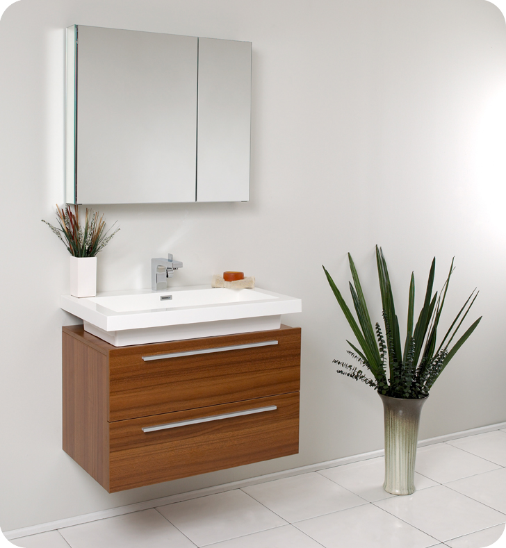 31 Inch Wall Mounted Teak Modern Bathroom Vanity And Medicine Cabinet