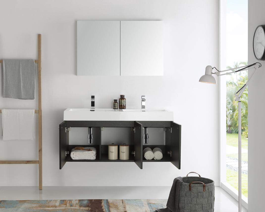 Modern Bathroom Vanities Double Sink fresca mezzo 48 inch black wall mounted double sink modern