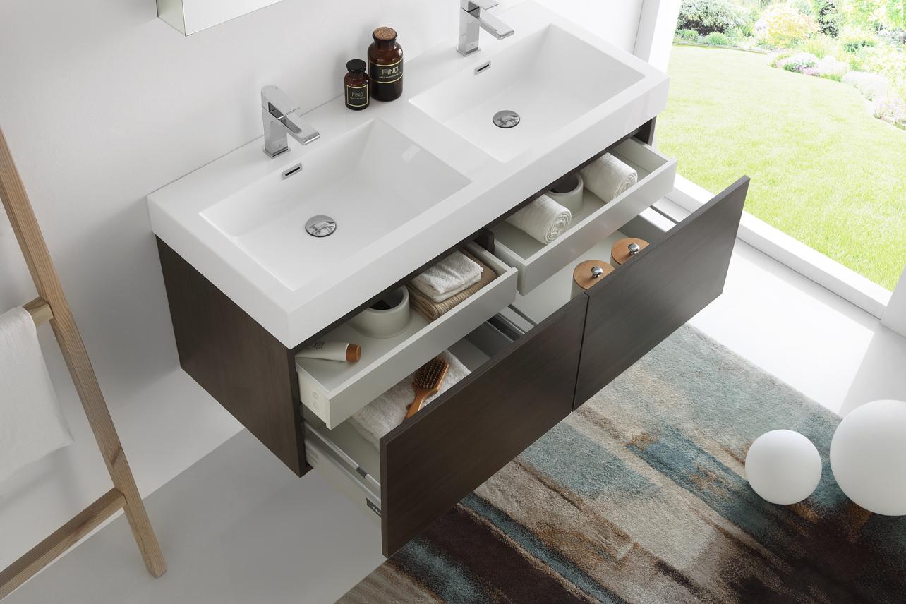 fresca mezzo 48 inch gray oak wall mounted double sink vanity