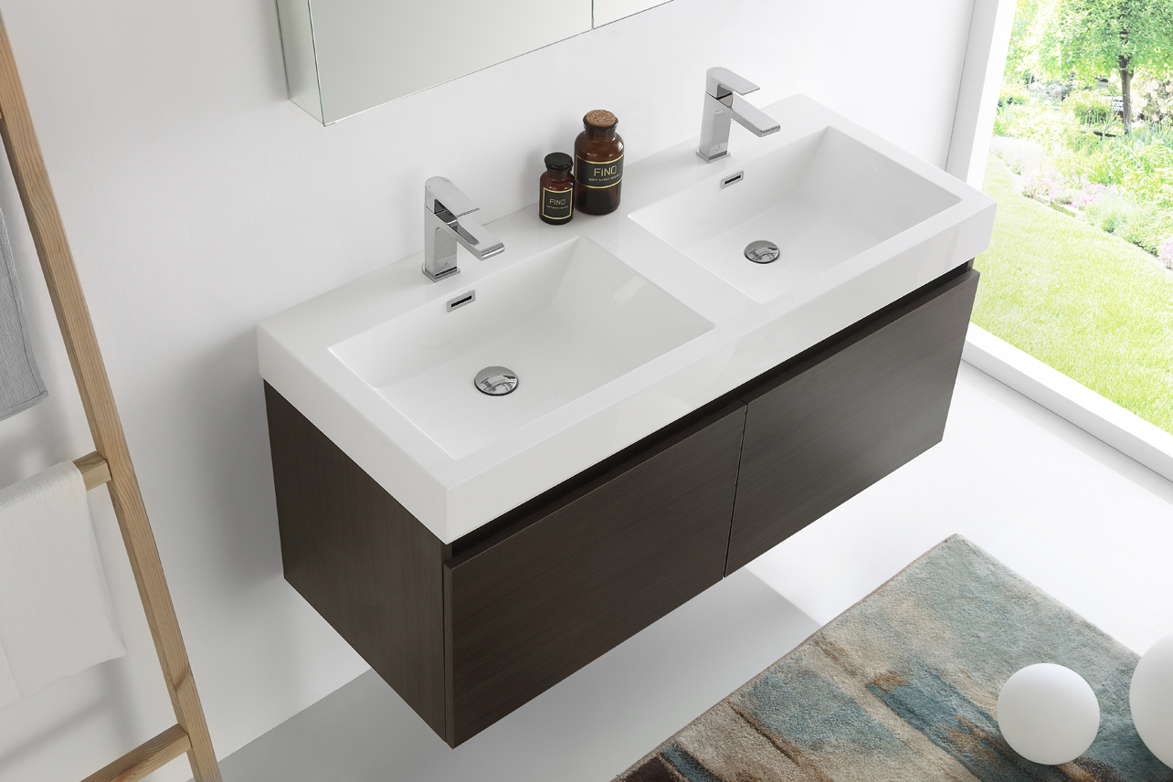 Lovely ... Fresca Mezzo 48 Inch Gray Oak Wall Mounted Double Sink Bath Vanity ...