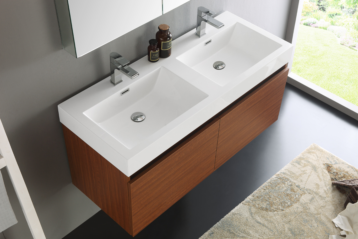 ... Fresca Mezzo 48 Inch Teak Wall Mounted Double Sink Bath Vanity ...