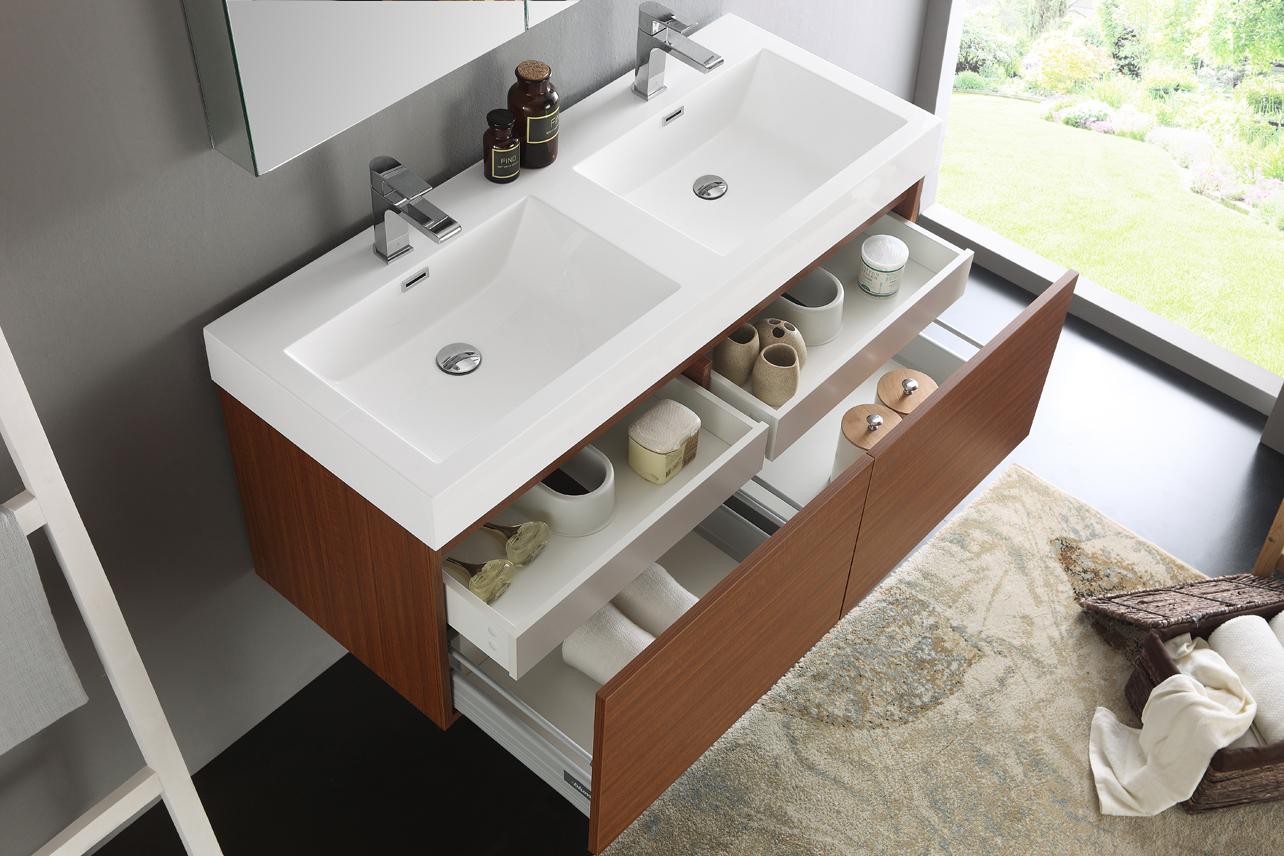 Fresca Mezzo 48 Quot Teak Wall Hung Double Sink Modern