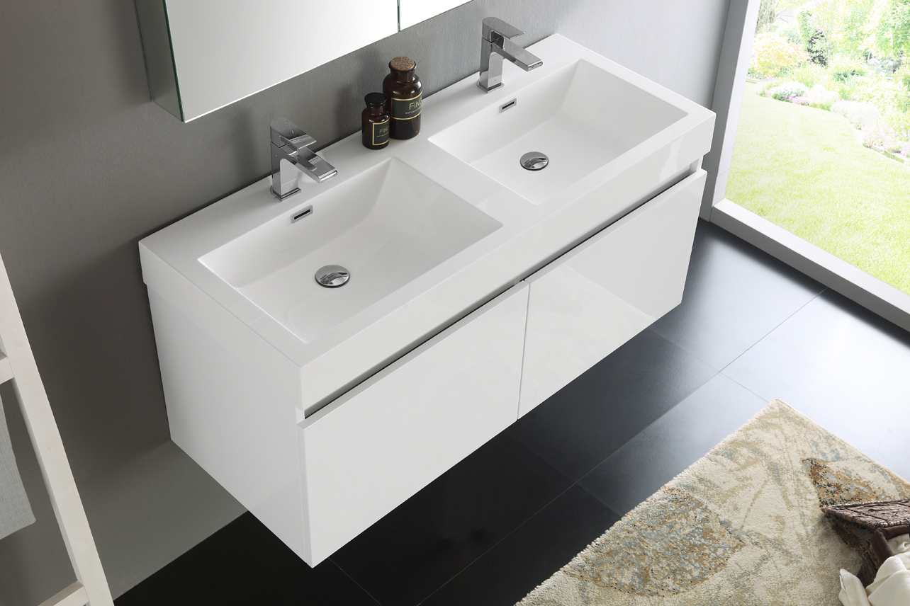 ... Fresca Mezzo 48 Inch White Wall Mounted Double Sink Bath Vanity ...