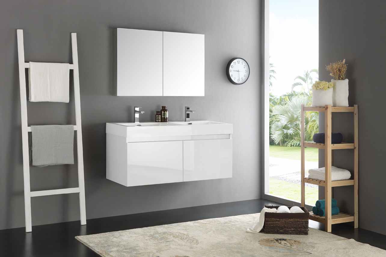 Fresca Mezzo 48 Inch White Wall Mounted Double Sink Bathroom Vanity