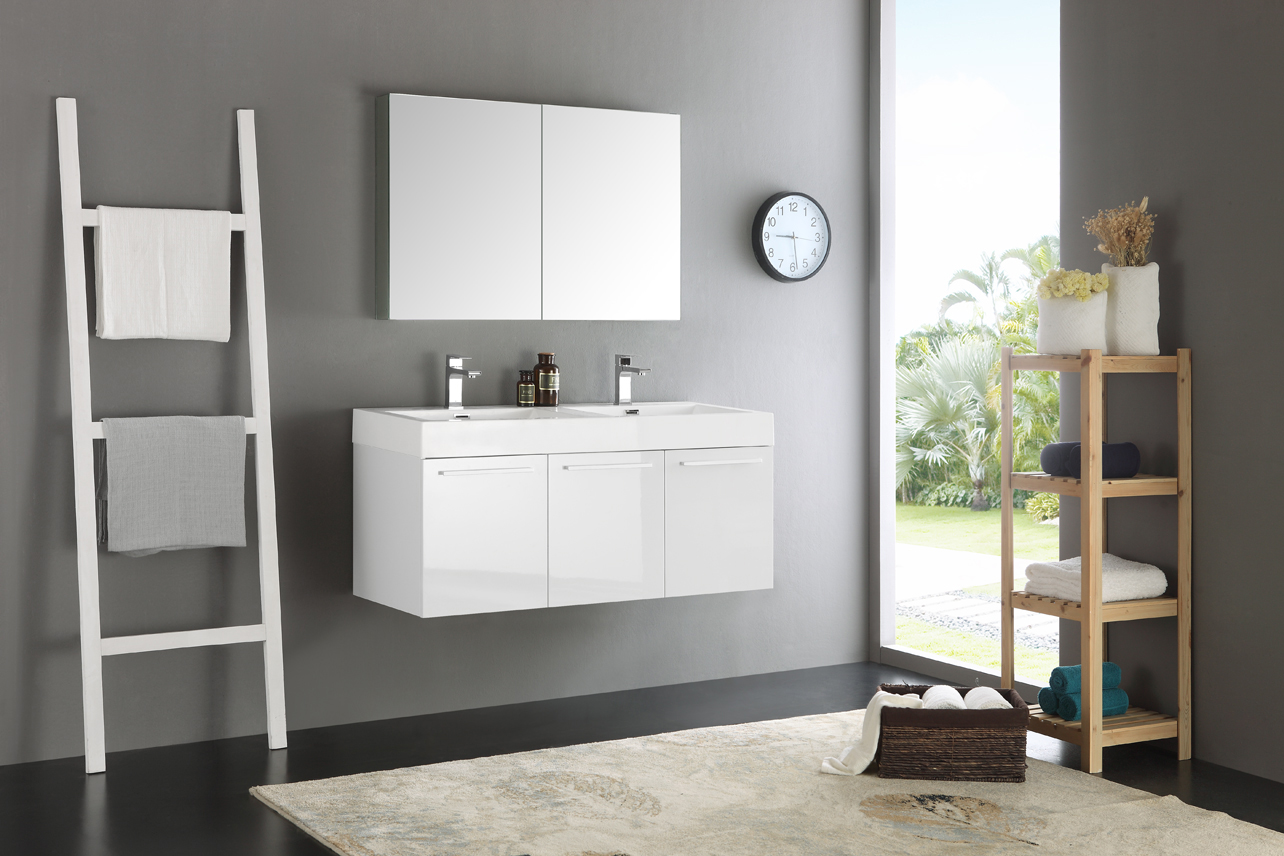 mezzo 48 inch white wall mounted double sink modern bathroom vanity fresca mezzo 48 inch white wall mounted double sink modern bathroom vanity