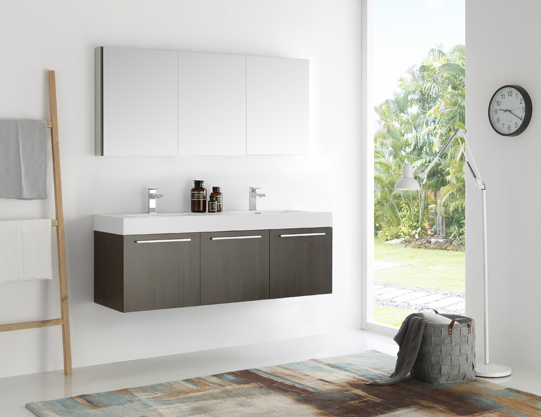 fresca allier 60 gray oak modern double sink bathroom vanity. mezzo inch gray oak wall mounted double sink modern bathroom vanity fresca allier 60