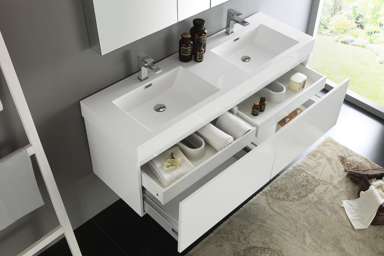 100 60 inch double sink vanity tasteful black and white the