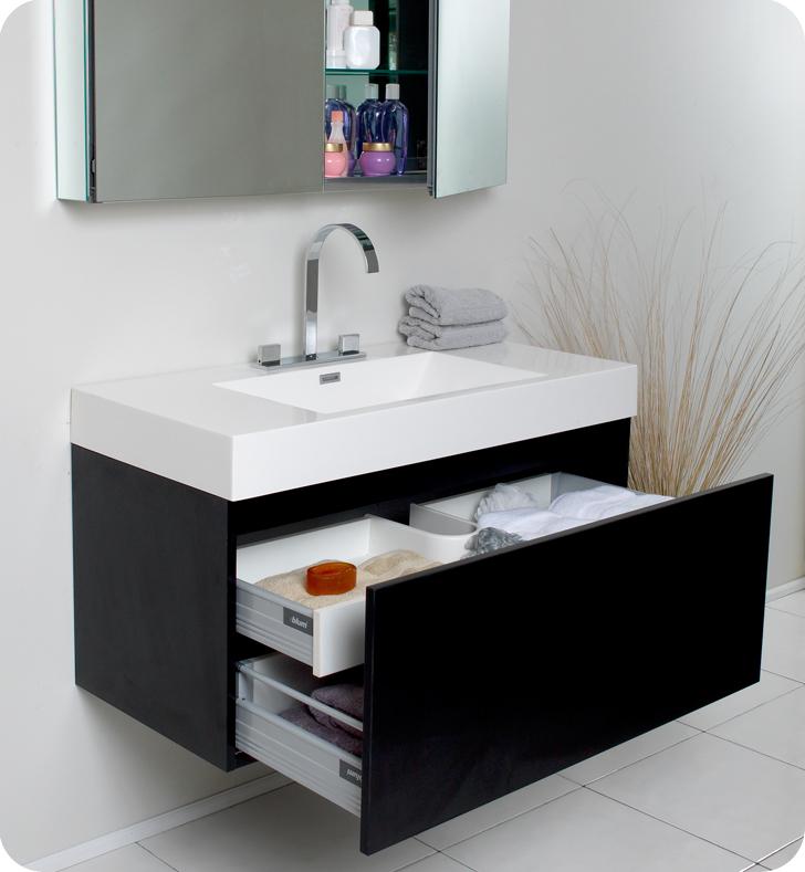 Fresca Mezzo Black Modern Bathroom Vanity With Faucet Medicine - Glass bathroom cabinets modern
