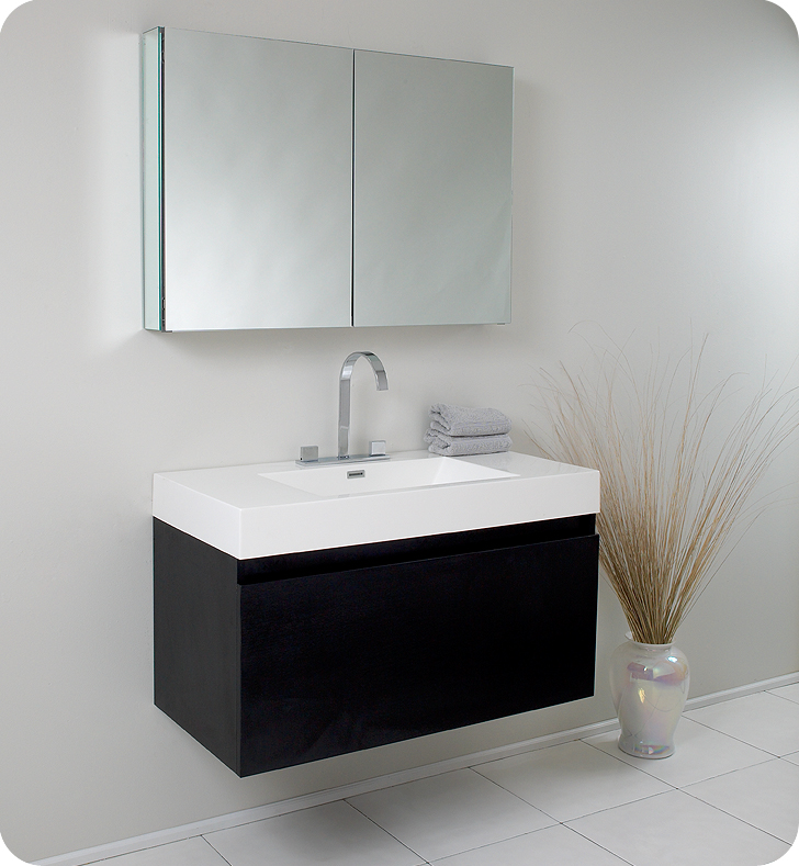 fresca mezzo black modern bathroom vanity - Modern White Bathroom Cabinets