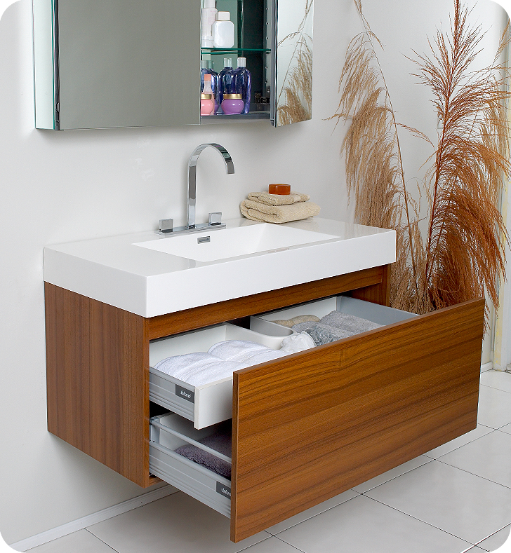 Fresca mezzo teak modern bathroom vanity with medicine cabinet for Bathroom cabinets modern