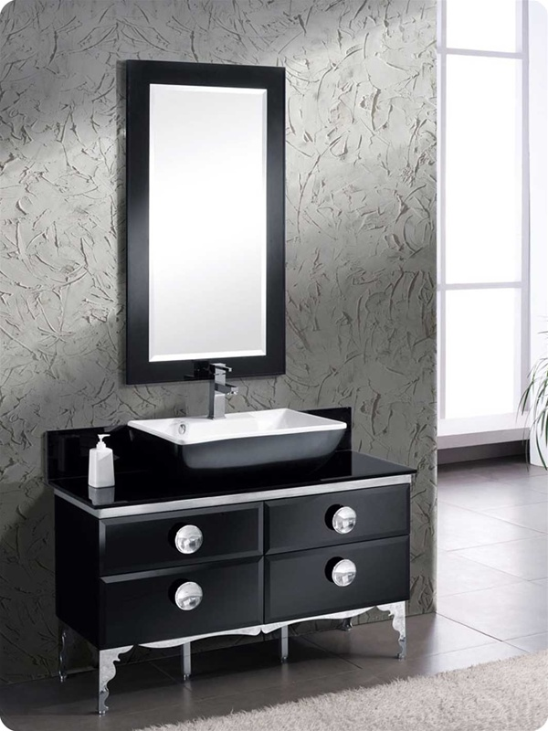 "Modern Bathroom Vanities Tempered Glass Design Vessel Sink fresca moselle 47"" modern glass bathroom vanity with mirror, steel"