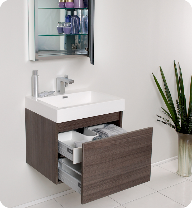 Fresca nano gray oak modern bathroom vanity for Grey bathroom cupboard