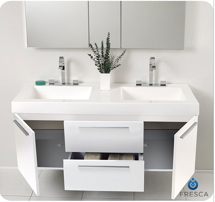 54 inch bathroom vanity double sink. fresca fvn8013go opulento 54 inch white double bathroom vanity Floating Bathroom Vanity  View In Gallery