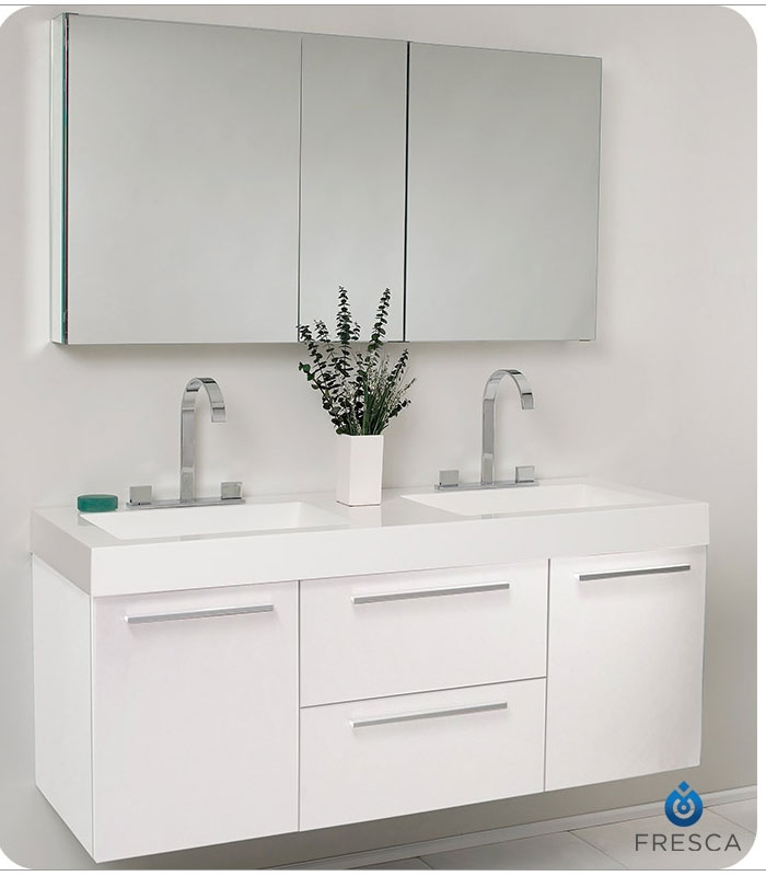 Fresca opulento 54 white modern double sink bathroom vanity with faucet medicine cabinet and White bathroom vanity cabinets