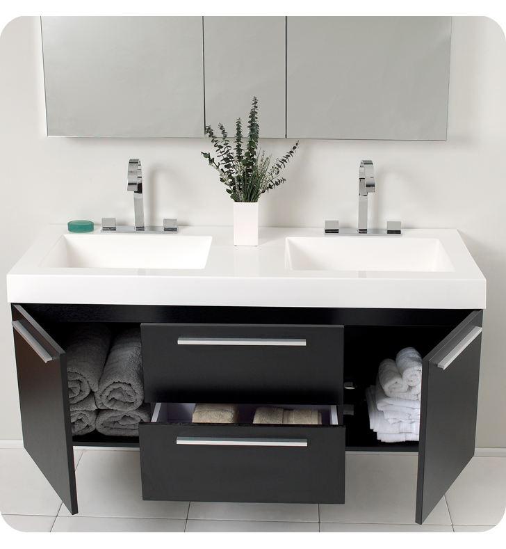 54 inch black modern double sink bathroom vanity with medicine cabinet