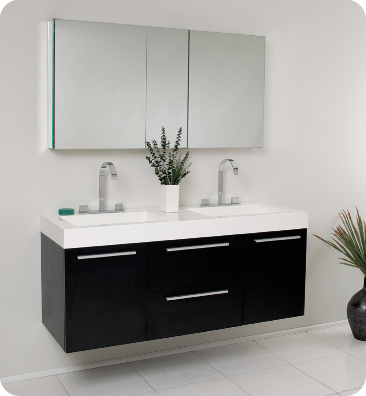 Fresca Onto 54 Black Modern Double Sink Bathroom Vanity With Faucet Medicine Cabinet And Linen Side Option