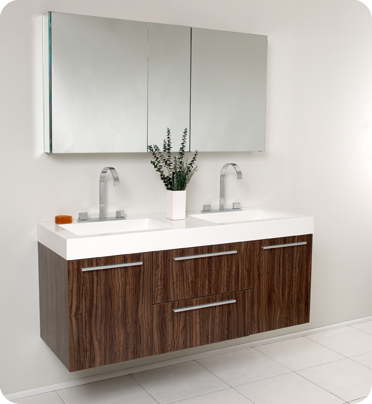 Fresca Onto 54 Walnut Modern Double Sink Bathroom Vanity With Faucet Medicine Cabinet And Linen Side Option