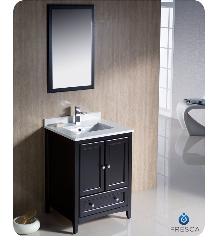 Fresca Oxford Collection 24 Espresso Traditional Single Bathroom Vanity With Top Sink Faucet And Linen Cabinet Option